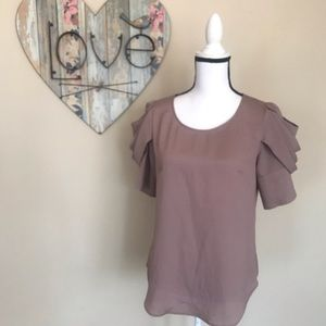 Lost April Anthropologie Blouse Pleated Sleeves